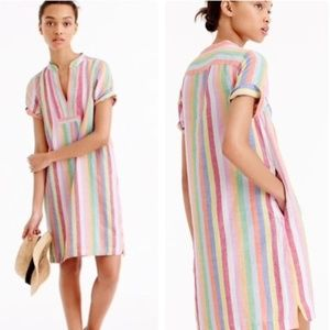 J. Crew | Candy Stripe Popover Shift Linen Dress SNWT, used for sale